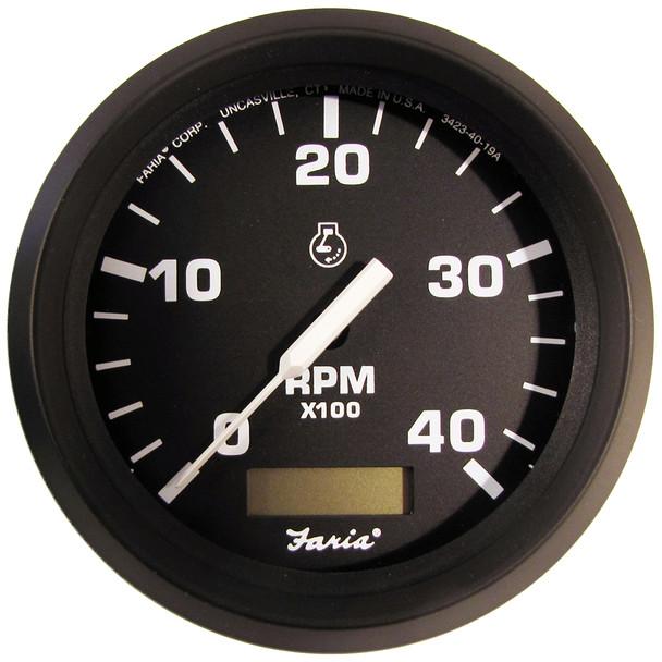 "Faria Euro 4"" Tachometer w\/Hourmeter (4000 RPM) (Diesel) (Mech Takeoff  Var Ratio Alt) [32834]"
