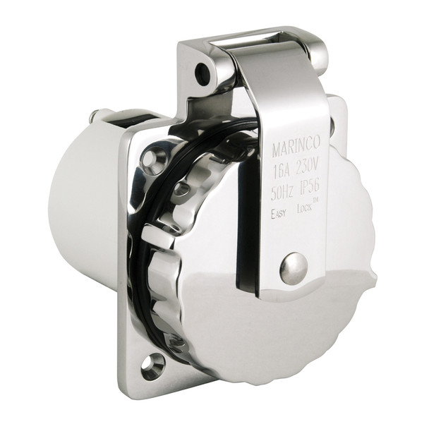Marinco 16A 230V Easy Lock 316 Stainless Steel Inlet [303SSEL-BXPK]