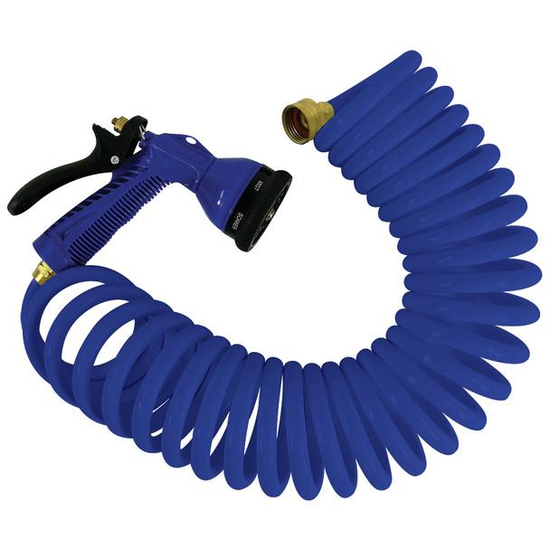 Whitecap 25 Blue Coiled Hose w\/Adjustable Nozzle [P-0441B]