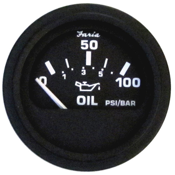"Faria Heavy-Duty 2"" Oil Pressure Gauge (100PSI) - Black [23004]"