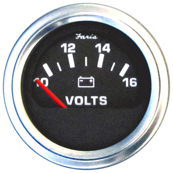 """Faria 2"""" Voltmeter (10-16 VDC) Unlit 12V Black w\/Stainless Steel Bezel  Orange Pointer - Case of 24 [VP0125]"""