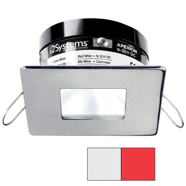 i2Systems Apeiron PRO A503 - 3W Spring Mount Light - Square\/Square - Cool White  Red - Brushed Nickel Finish [A503-44AAG-H]