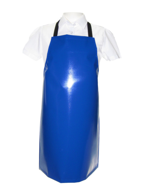 7-10 years PVC Bib Aprons with Adjustable Ties in Blue (x20 units)