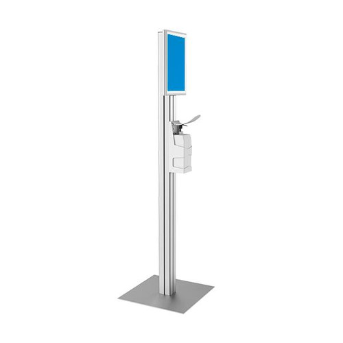 Free -Standing Sanitiser Dispenser with Long Armed Pump and A3 SIgn