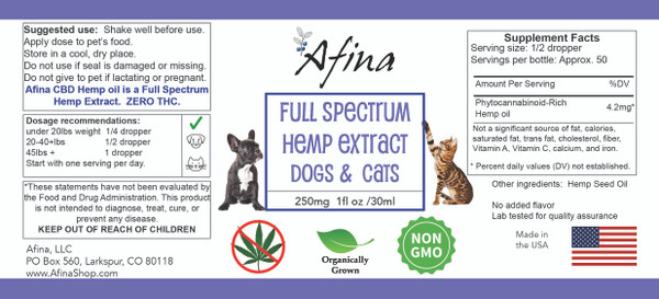 Afina's 250 mg Full Spectrum Hemp Extract – Unflavored
