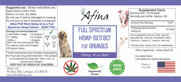 Afina's 750 mg Full Spectrum Hemp Extract – Unflavored