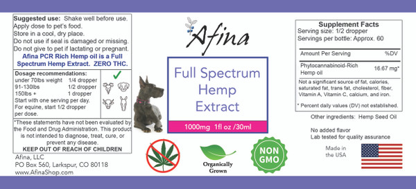 Afina's 1000 mg Full Spectrum Hemp Extract – Unflavored