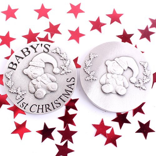 Baby's 1st Christmas Pewter Coin Teddy Bear