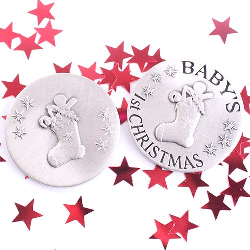 Baby's First Christmas Pewter Coin Xmas Stocking