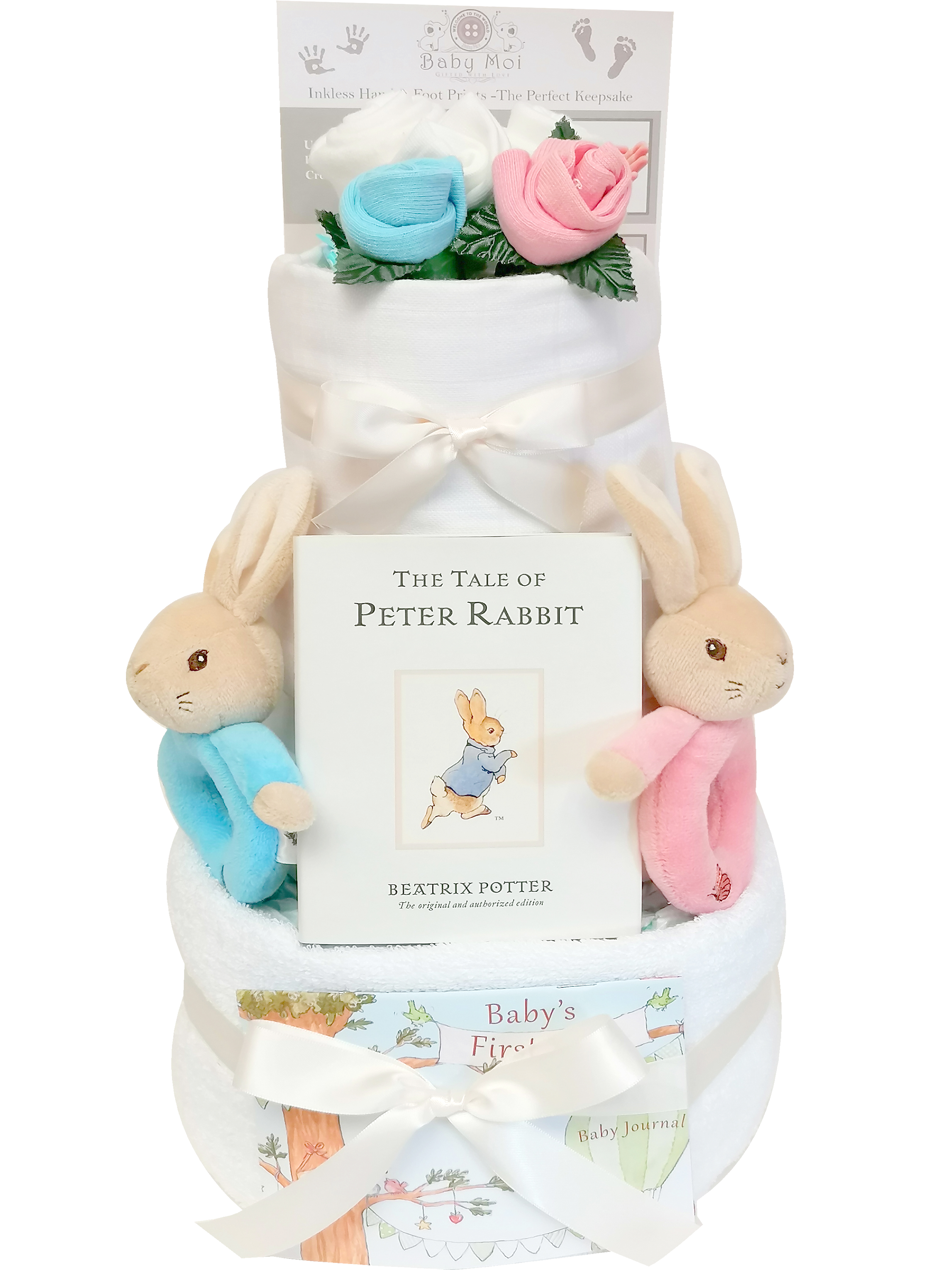 3 Tier Twin Peter & Flopsy Nappy Cake Posy