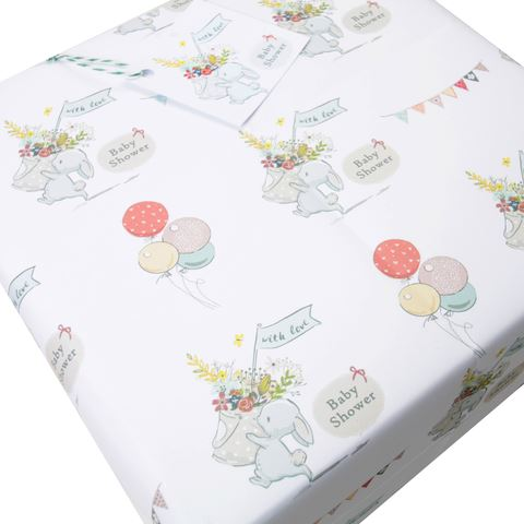 Baby Shower gift Wrapping paper Vintage Bunny (4 Sheets & gift Tags)