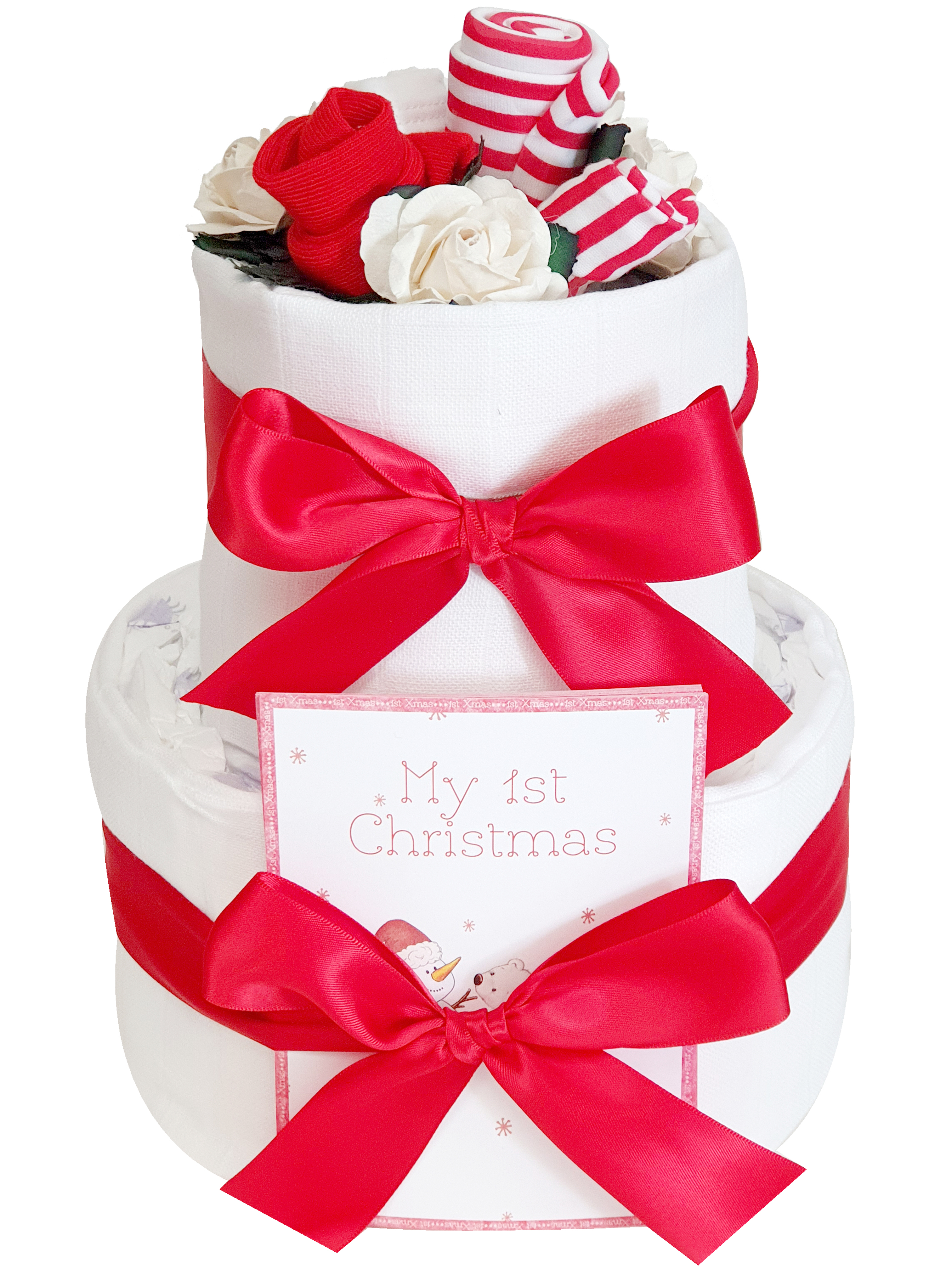 Babys 1st Christmas Gift 2 Tier Nappy Cake