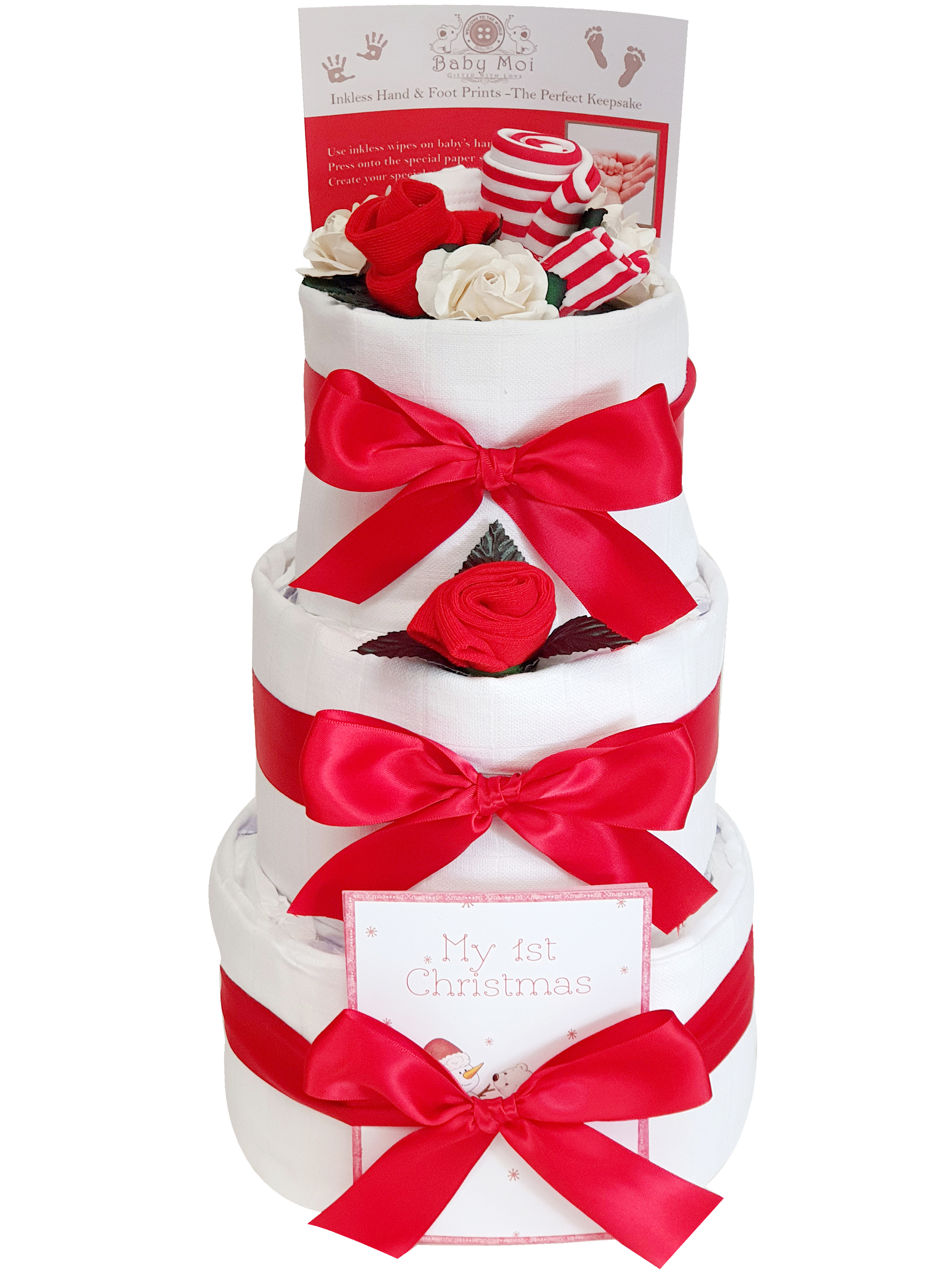Babys 1st Christmas Gift 3 Tier Nappy Cake