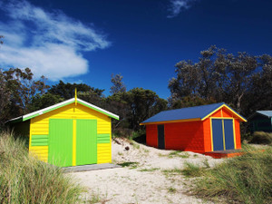 Bright sunny beach boxes on Rosebud Beach Aust September 2016