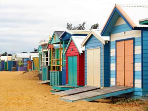 Beach boxes along the coastline (Mornington)
