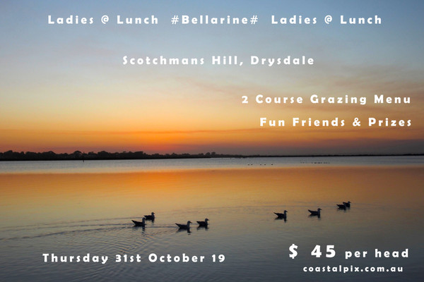 Bellarine Ladies @ Lunch Group - Tickets now on Sale  Thursday October 31st 2019  Scotchmans Hill, 190 Scotchmans Hill Road,  Drysdale. Bellarine Aust   Grazing Lunch Platters Prizes Tea/coffee & drinks available  12-2pm  $45.00 per head Includes Booking Fee  Happy Times, New & Old Friends, Delicious Food   Local Produce and Delightful Views