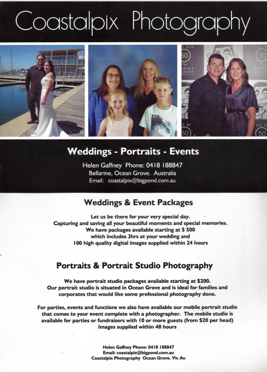 Coastalpix specialises in Coastal Weddings, Events & Tourism photography.  If you are planning a special function or fundraising event Coastalpix Photography Services can help make it a memorable one for both you and your guests.  Our packages start at $250 per Event.  For further info please contact us.