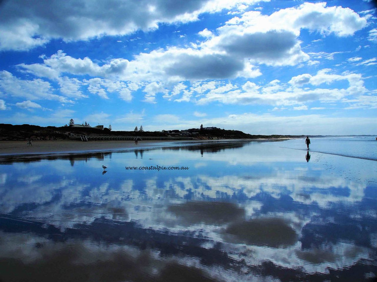 Cloud reflections on a cloudy spring day (Ocean Grove)