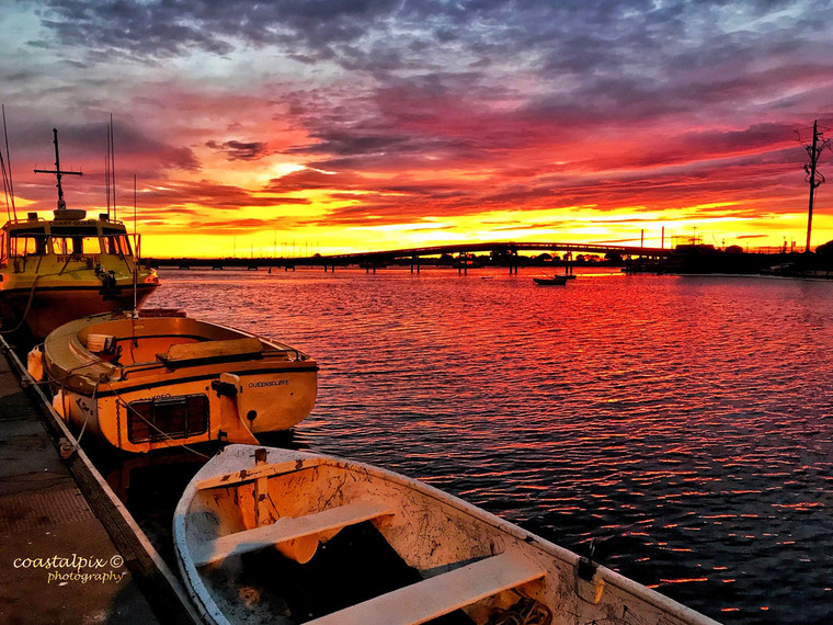Boats anchored as the Sun Rises over Swan Bay (Queenscliff)