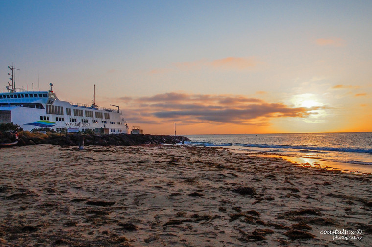 The sun rises up over the ocean at Queenscliff Beach while the ferry gets ready to leave (Queenscliff)  March 2019