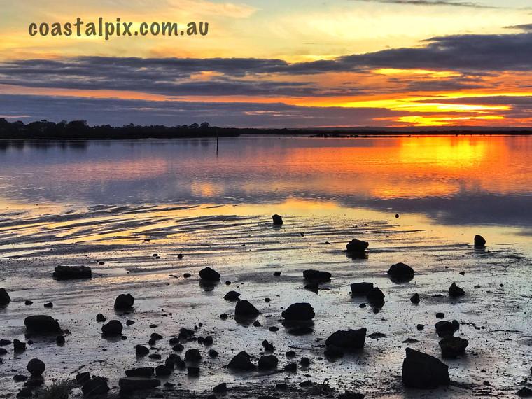 Orange Reflections onto the Barwon River Sunset Jun19