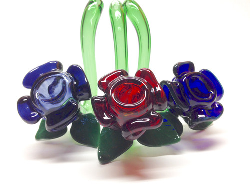 Rose Sherlock glass pipes available in 3 gent one glass colors