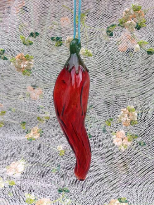 Hand Blown Mini Chili Pepper Glass Ornament