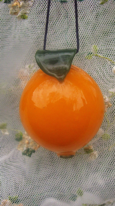 Hand Blown Mini Orange Glass Ornament