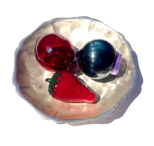Berry Bowl, Fruit Glass Pipe Collection, Strawberry Blueberry and Pomegranate Pipes, Fruit Smoking Bowl