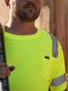 Buffalo Outdoors Reflective Hi Vis Yellow Safety Pocket Short Sleeve T-Shirt Front Lifestyle