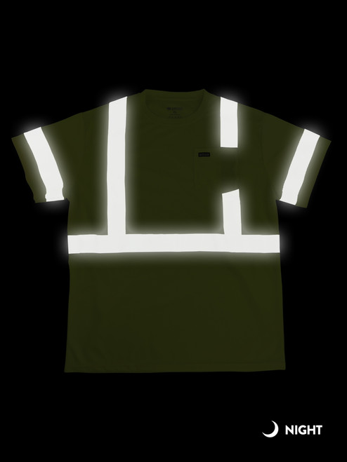 Buffalo Outdoors Reflective Hi Vis Yellow Safety Pocket Short Sleeve T-Shirt Night