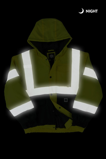 Buffalo Outdoors Class 2 Hi Vis Safety Winter Bomber Jacket Front Night