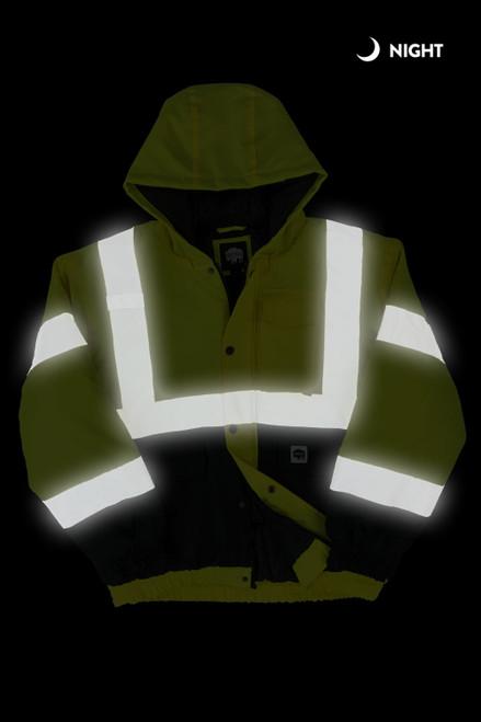 Buffalo Outdoors Class 2 Hi Vis Safety Winter Bomber Jacket Front Night