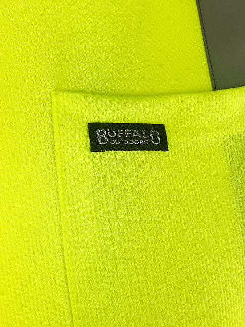Buffalo Outdoors Reflective Hi Vis Yellow Safety Pocket Long Sleeve T-Shirt Patch Detail