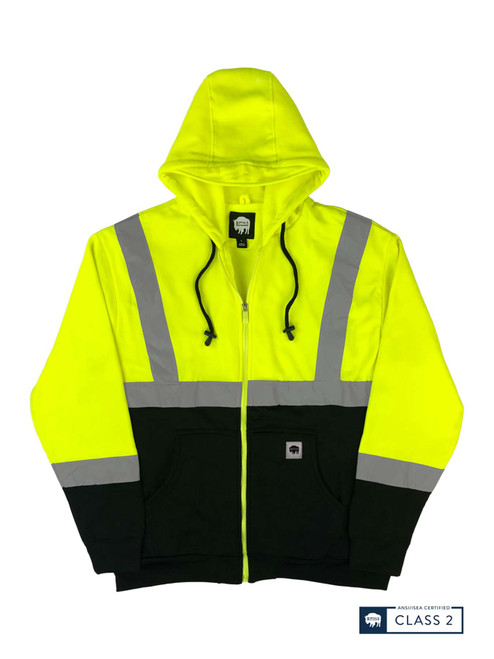 Buffalo Outdoors Class 2 Hi Vis Reflective Safety Hoodie Front