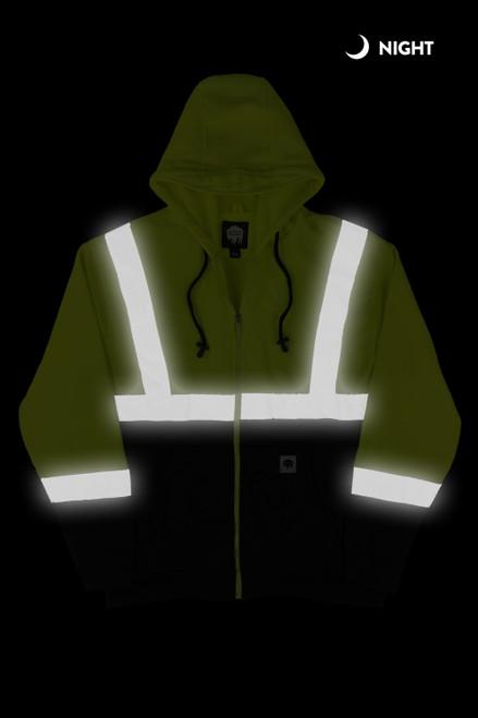 Buffalo Outdoors Class 2 Hi Vis Reflective Safety Hoodie Night