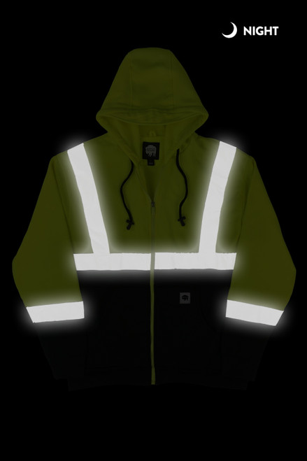 Buffalo Outdoors Class 2 Hi Vis Reflective Safety Hoodie Night