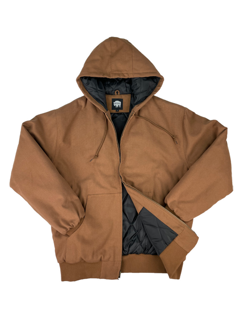 Buffalo Outdoors Chestnut Brown Canvas Bomber Work Jacket Front