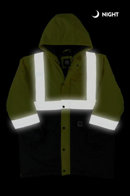 Buffalo Outdoors Class 2 Hi Vis Safety Winter Parka Jacket Front Night