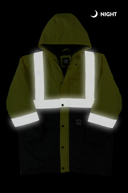 Buffalo Outdoors Class 2 Hi Vis Safety Winter Parka Jacket Front Night