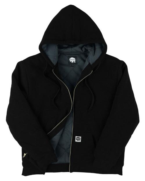 Buffalo Outdoors Thermal Lined Hooded Fleece Hoodie Sweatshirt Black Front