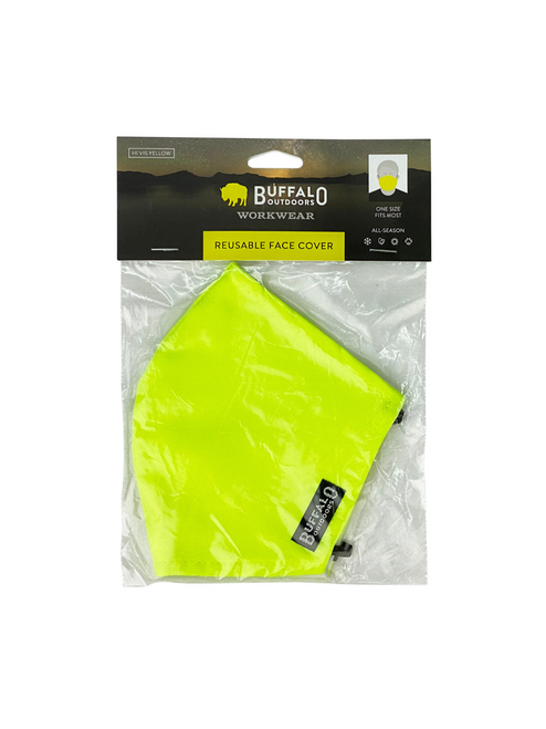 Buffalo Outdoors Hi Vis Yellow Washable Face Cover in Bag