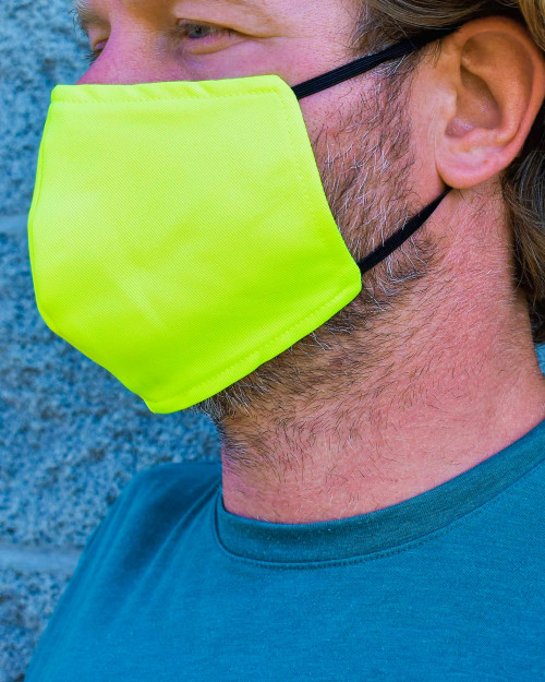 Buffalo Outdoors Hi Vis Yellow Washable Face Cover Side View