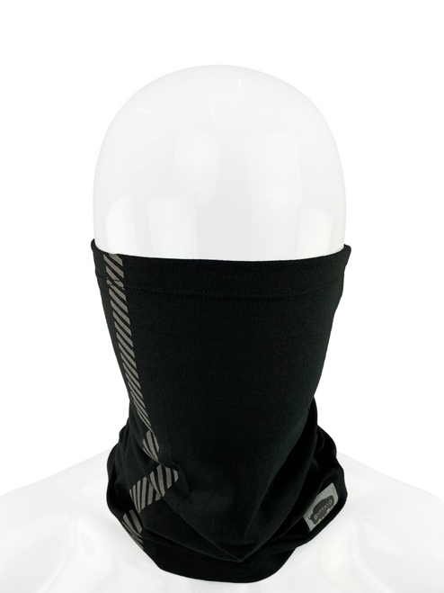 Buffalo Outdoors® Black Protective Neck/Face Gaiter Product Being Worn