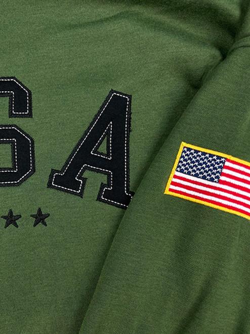 Buffalo Outdoors USA Hooded Sweatshirt Army Green Close Up Detail