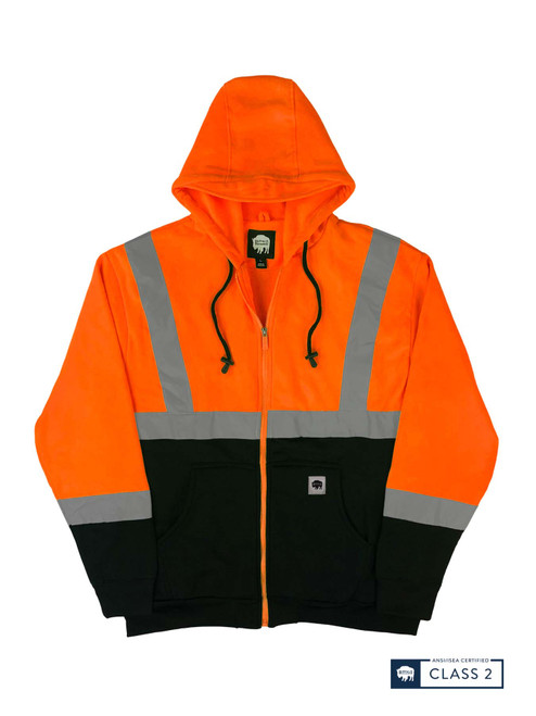 Buffalo Outdoors Class 2 Hi Vis Orange Reflective Safety Hoodie Front