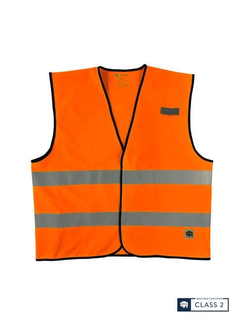 Buffalo Outdoors Class 2 Hi Vis Orange Reflective Safety Work Vest Front