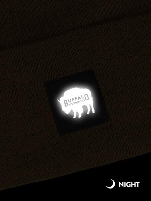Buffalo Outdoors Buffalo Winter Knit Reflective Work Hat Reflective Patch Detail