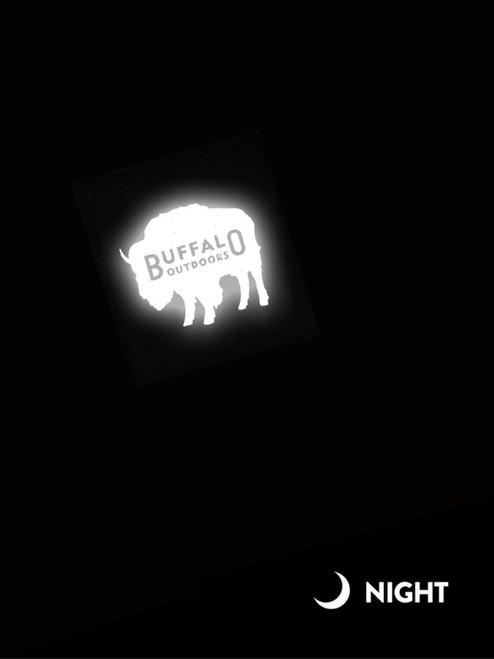 Buffalo Outdoors Canvas Work Cap Brown Front Reflective Logo Closeup