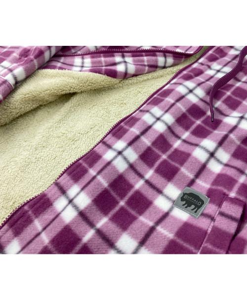 Buffalo Outdoors Women's Sherpa Lined Hooded Fleece Purple Plaid Detail Lining Pocket Zipper